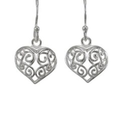 Sterling Silver 10x11mm Filigree Heart Drop Earrings