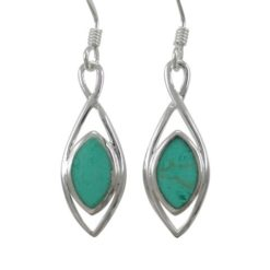 Sterling Silver 22x8mm Marquise Green Turquoise Drop Earrings