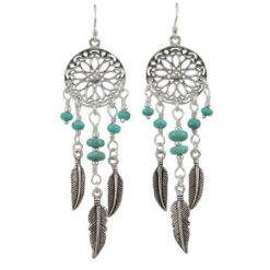 Sterling Silver 18x60mm Blue Turquoise Dream Catcher Drop Earrings