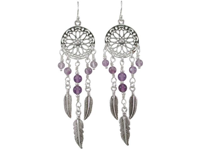 Sterling Silver 18x60mm Amethyst Dream Catcher Drop Earrings