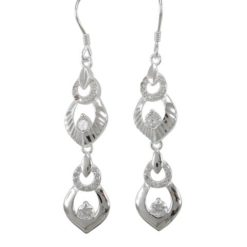 Sterling Silver 35x10mm White Cubic Zirconia Drop Earrings