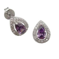 Sterling Silver 10x8mm Purple Cubic Zirconia Teardrop Stud Earrings