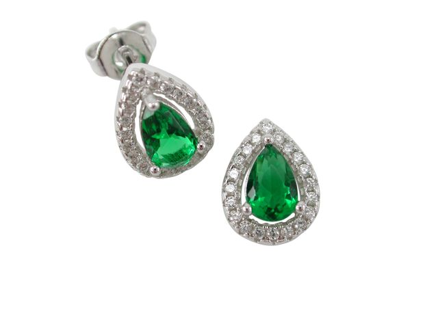 Sterling Silver 10x8mm Green Cubic Zirconia Teardrop Stud Earrings