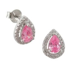 Sterling Silver 10x8mm Pink Cubic Zirconia Teardrop Stud Earrings