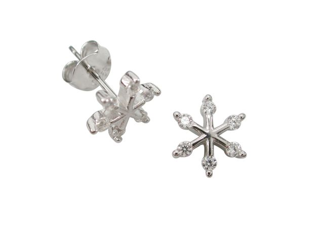 Sterling Silver 8mm White Cubic Zirconia Snowflake Stud Earrings