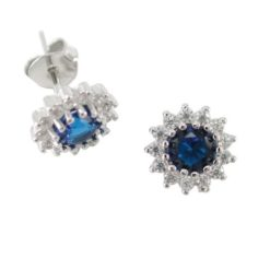 Sterling Silver 8mm Blue Cubic Zirconia Cluster Stud Earrings