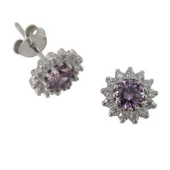 Sterling Silver 8mm Purple Cubic Zirconia Cluster Stud Earrings