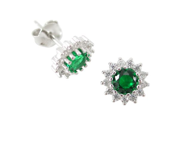 Sterling Silver 8mm Green Cubic Zirconia Cluster Stud Earrings