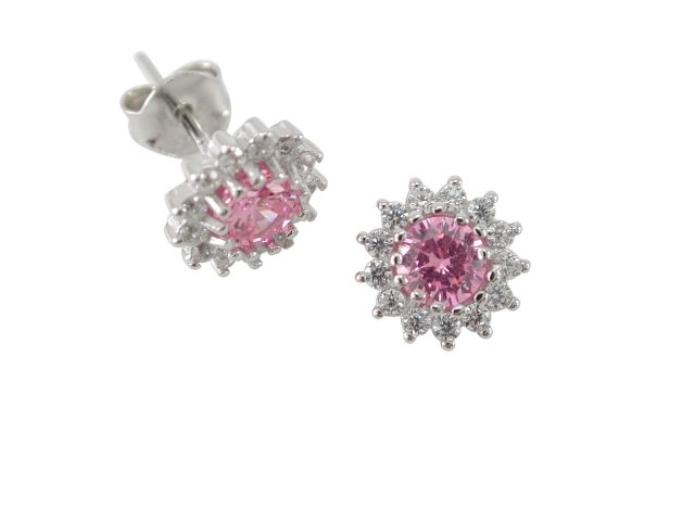 Sterling Silver 8mm Pink Cubic Zirconia Cluster Stud Earrings