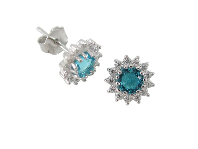 Sterling Silver 8mm Aqua Cubic Zirconia Cluster Stud Earrings
