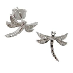 Sterling Silver 10x11mm White Cubic Zirconia Dragonfly Stud Earrings