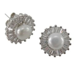 Sterling Silver 10mm Freshwater Pearl & White Cubic Zirconia Tapered Baguette Stud Earrings