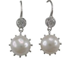 Sterling Silver 9mm Cultured Pearl & White Cubic Zirconia Drop Earrings