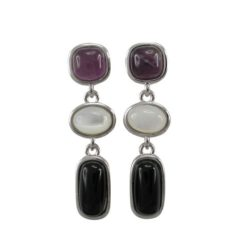 Sterling Silver 60x8mm Amethyst, Mother Of Pearl & Black Onyx Hook Earrings