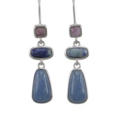 Sterling Silver 37x9mm Amethyst, Lapis Lazuli & Blue Lace Agate Hook Earrings