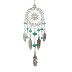Sterling Silver 25x85mm Blue Turquoise Dream Catcher Pendant