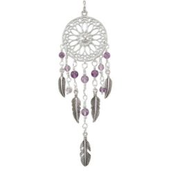 Sterling Silver 25x85mm Amethyst Dream Catcher Pendant