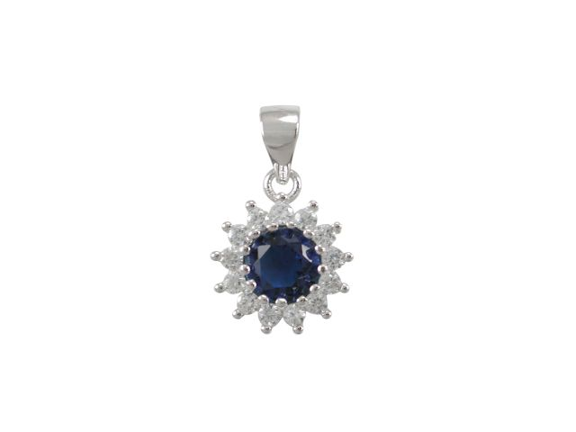 Sterling Silver 10mm Blue Cubic Zirconia Cluster Pendant