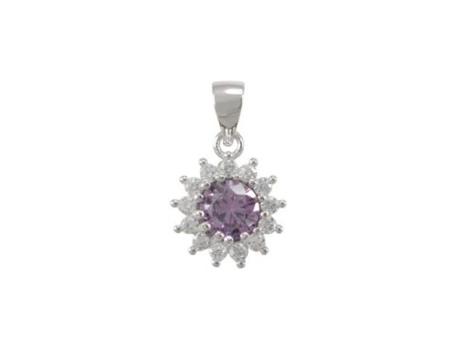 Sterling Silver 10mm Purple Cubic Zirconia Cluster Pendant