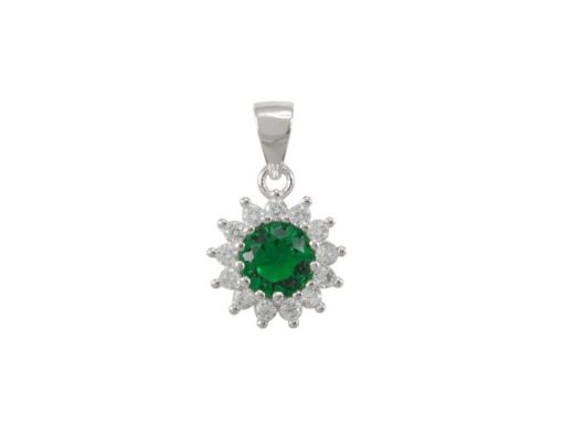 Sterling Silver 10mm Green Cubic Zirconia Cluster Pendant