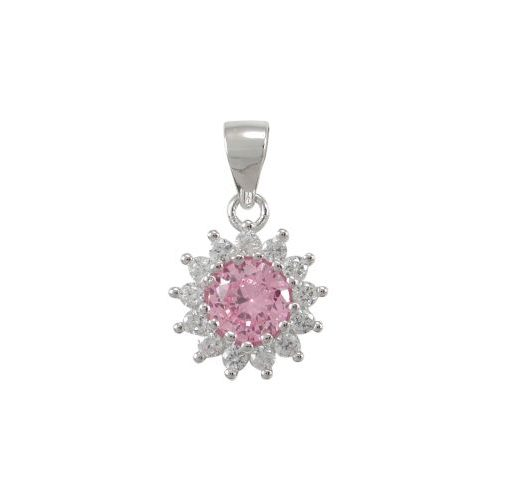 Sterling Silver 10mm Pink Cubic Zirconia Cluster Pendant