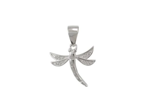 Sterling Silver 14x12mm White Cubic Zirconia Dragonfly Pendant