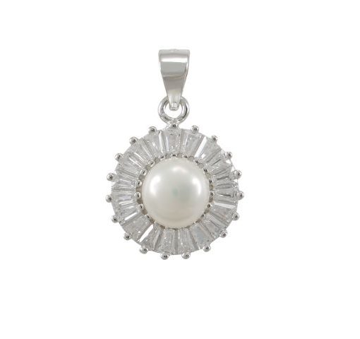 Sterling Silver 13mm Freshwater Pearl & White Cubic Zirconia Tapered Baguette Pendant