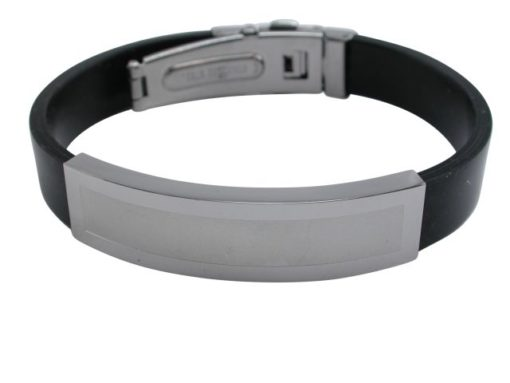 Stainless Steel 14mm Id With Black Silicon Strap Bracelet (adjustable) 22cm