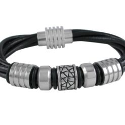 Stainless Steel 14mm Leather Bracelet 20.5cm