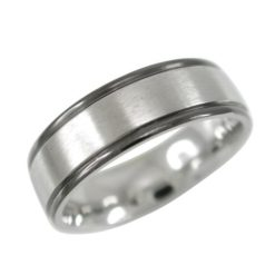 Stainless Steel 7mm Black Ip Edge Matt Centre Ring