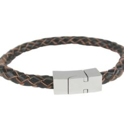 Stainless Steel And 6mm Brown Leather Bracelet