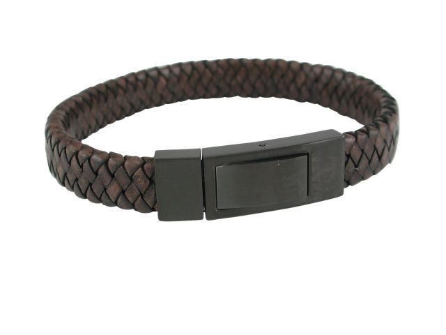 Stainless Steel Ipg Black Clasp & 11mm Brown Plaited Leather Bracelet