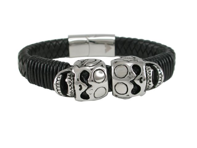 Stainless Steel 19mm Skull & Black Leather Bracelet 21cm