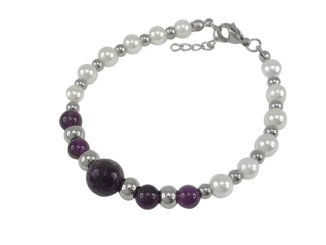 Stainless Steel 10mm Amethyst & Created Pearl Ball Bracelet 19-21cm