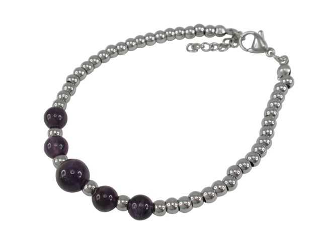 Stainless Steel 9mm Amethyst Ball Bracelet 19-21cm