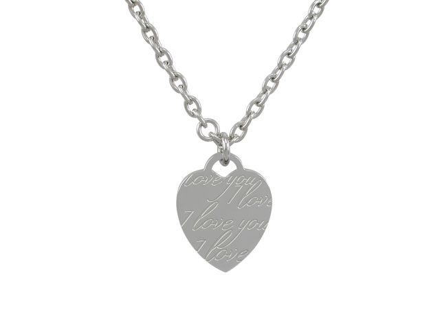 Stainless Steel 25x21mm *i Love You* Heart Necklet 50cm