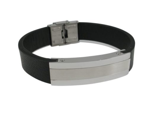 Stainless Steel 14mm Id With Black Leather Strap Bracelet (adjustable) 21cm
