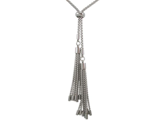 Stainless Steel 7x70mm Tassles Necklet With Adjustable Slider 80cm
