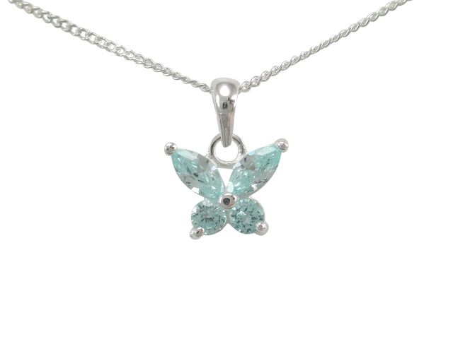 Sterling Silver 10x9mm Aqua Cubic Zirconia Butterfly Necklet 40-45cm