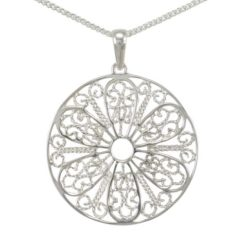 Sterling Silver 30mm Filigree Flower Necklet 40-45cm