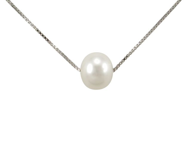 Sterling Silver 9mm White Fresh Water Pearl Necklet 45cm