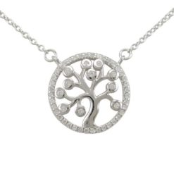 Sterling Silver 16mm White Cubic Zirconia Tree Of Life Necklet 40-42cm