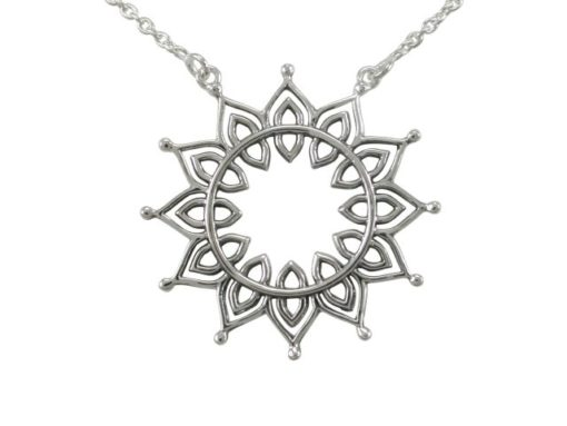 Sterling Silver 30mm Bohemian Style Sun Flower Necklet 40-45cm