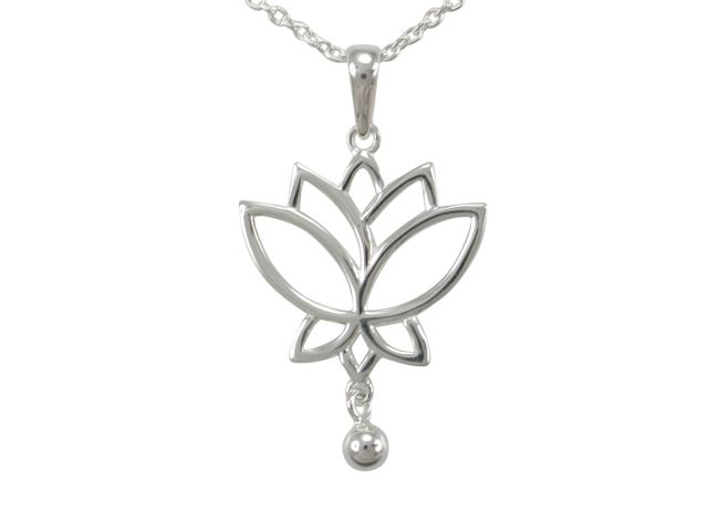 Sterling Silver 31x28mm Lotus Flower & Dangling Ball Necklet 40-45cm
