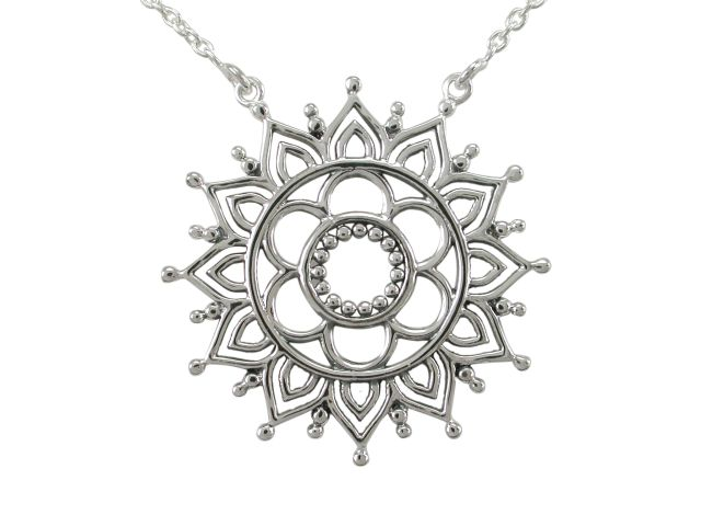 Sterling Silver 30mm Bohemian Style Flower Necklet 40-45cm