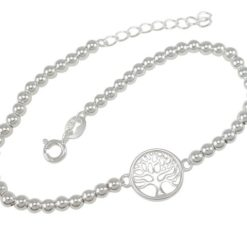 Sterling Silver 11mm Tree Of Life 3mm Ball Bracelet 17-19cm