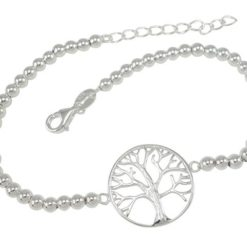 Sterling Silver 18mm Tree Of Life 3mm Ball Bracelet 17-19cm