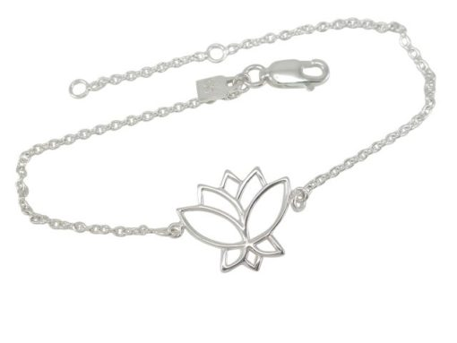 Sterling Silver 16x15mm Lotus Flower Bracelet 17-19cm