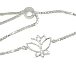 Sterling Silver 16x15mm Lotus Flower Adjustable Slider Bracelet 17-21cm