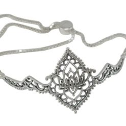 Sterling Silver 16x15mm Bohemian Style Lotus Flower Adjustable Slider Bracelet 17-21cm